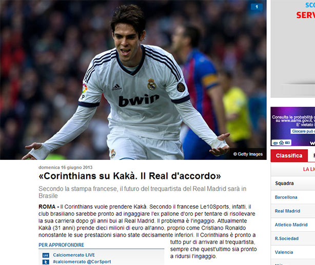 Site Italiano confirma a negocia��o do Corinthians com Kak�