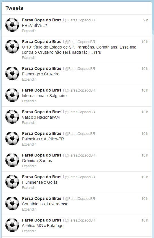 Twiter fake da copa do Brasil
