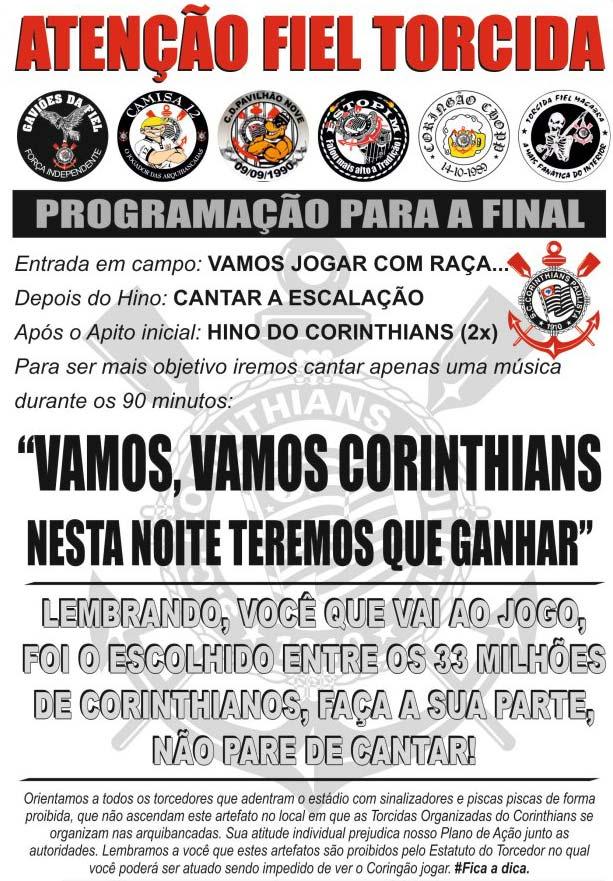 8e9ad32d89134 Torcida do Corinthians só vai cantar uma música na final