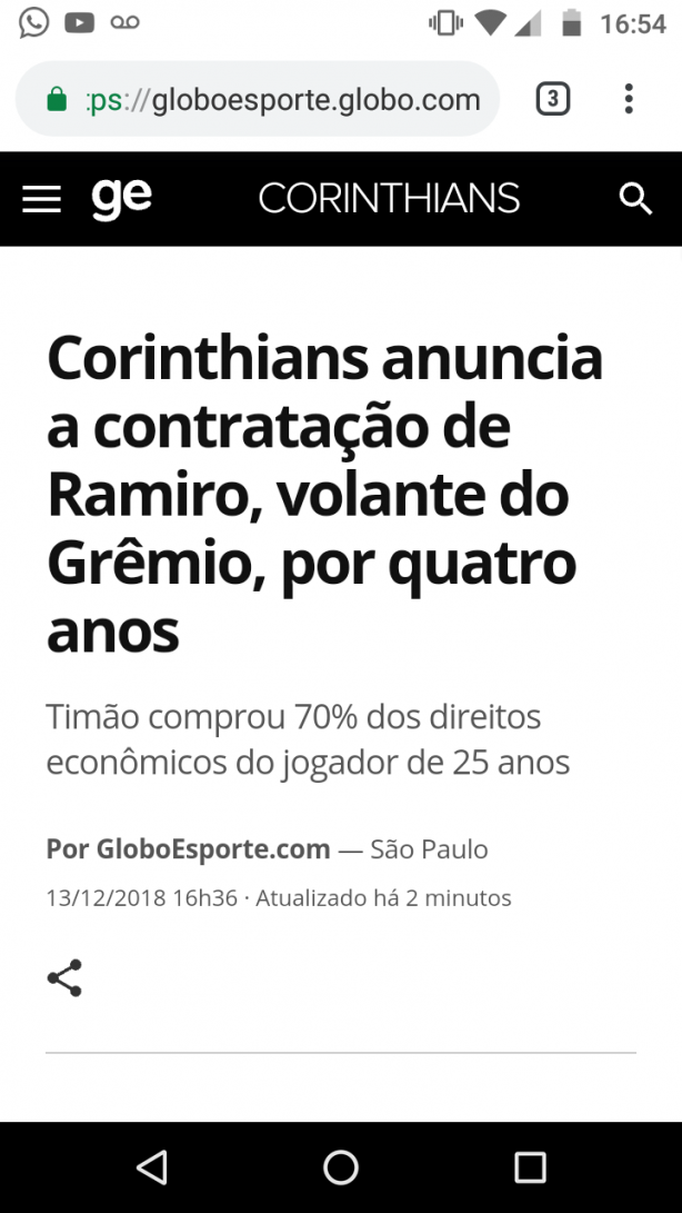 Corinthians adquiriu 70% do Ramiro