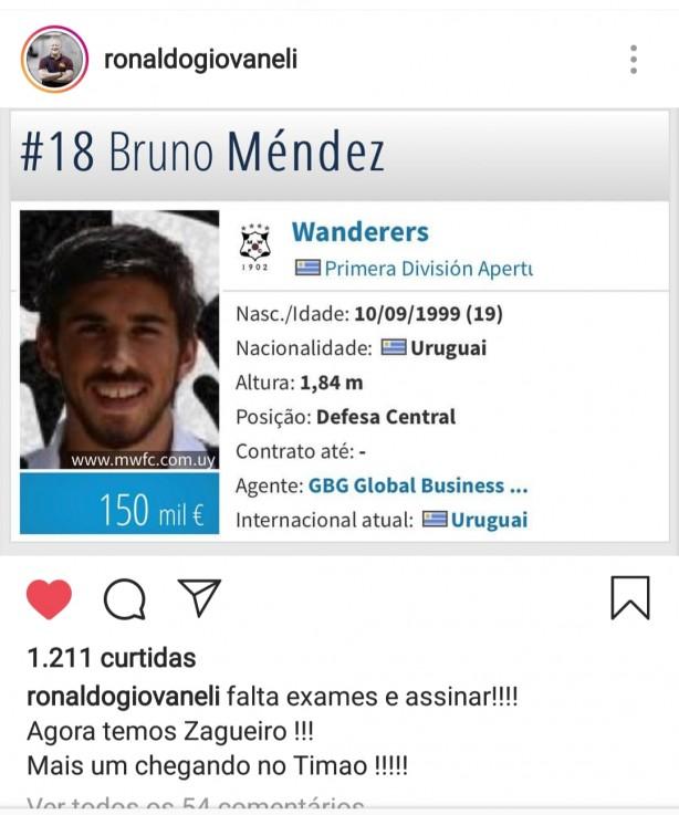 Ronaldo Giovaneli confirma o zagueiro Bruno mendez no seu Instagram 3f51dfcd01756
