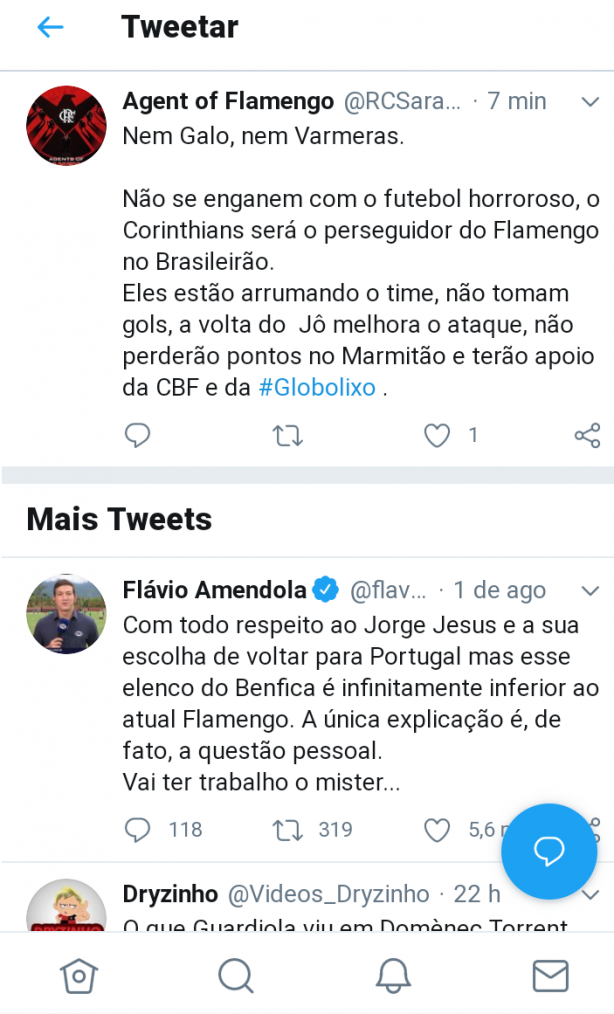 Flamenguista com medo do crescente Corinthians