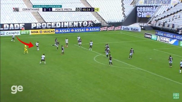 Posicionamento do Cantillo no gol do Vital contra a Ponte
