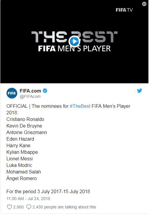 Fifa divulga 10 candidatos ao prêmio de melhor do mundo e deixa ... 31ddeafa9141c