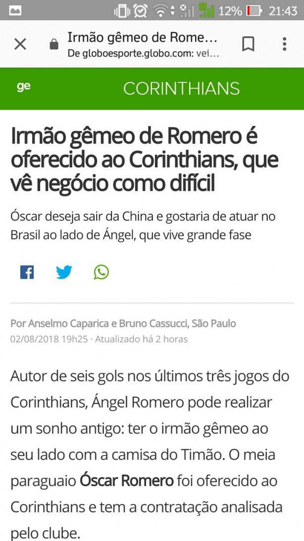 óscar Romero No Timão Globoesporte