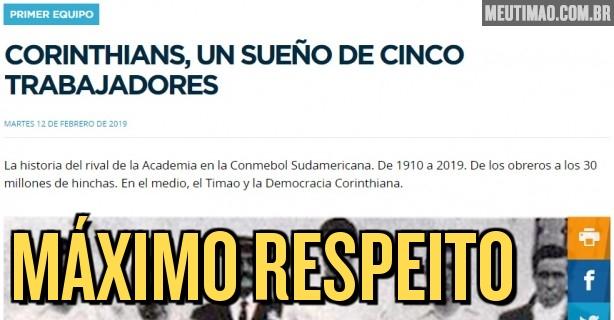 Site oficial do Racing relata origem operária do Corinthians ba060ce980792
