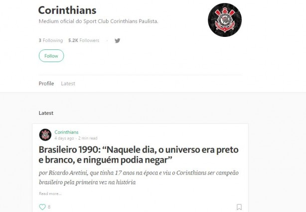 Perfil oficial do Corinthians na rede social Medium