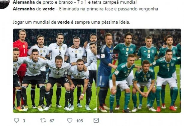 4fc26f0aa9 Alemanha foi eliminada da Copa do Mundo... Vestindo uniforme verde!