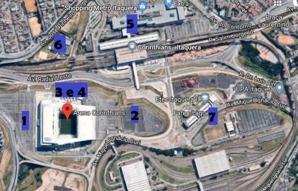 Sete estacionamentos estão à disposição dos torcedores que vão à Arena  Corinthians 7f193bfb095f2