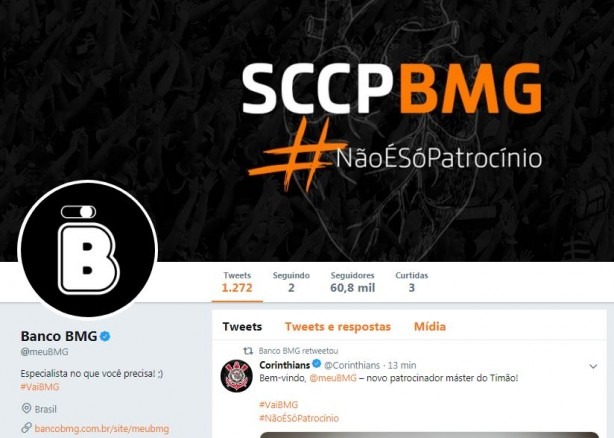 Perfil do Banco BMG ganhou as cores do Timão no Twitter