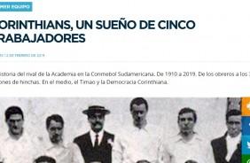 Site oficial do Racing relata origem operária do Corinthians  Timão  agradece argentinos 4a6517f3814e1