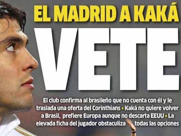 Kaká está fora dos planos do Real Madrid
