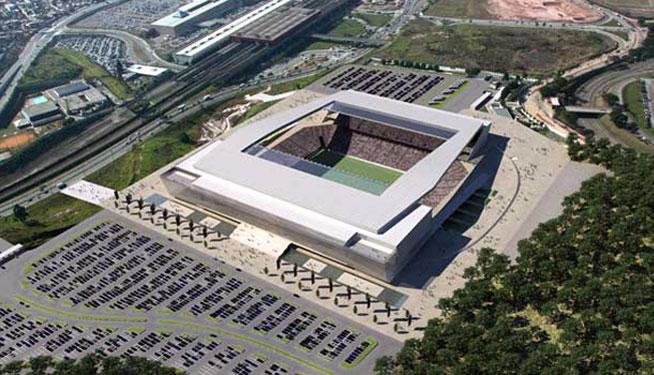 Perspectiva a�rea do Est�dio do Corinthians